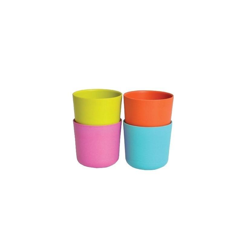 Ensemble de 4 tasses – Verte/Bleue/Orange/Rose