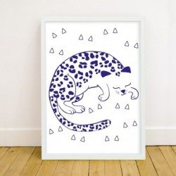 Petite affiche phospho – Léopard bleu