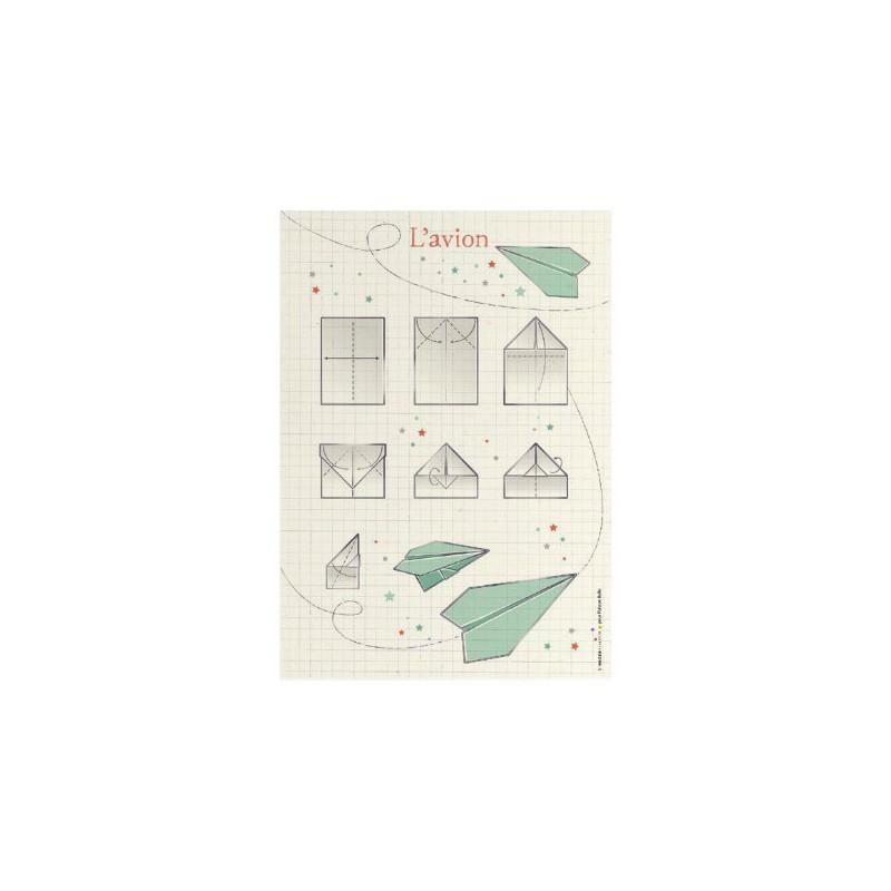 Affiche – Origami avion vert