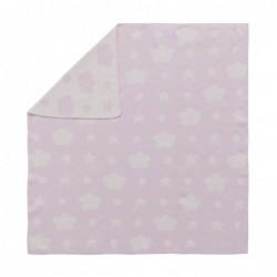 Couverture en coton – Rose – Étoiles, nuages et pois