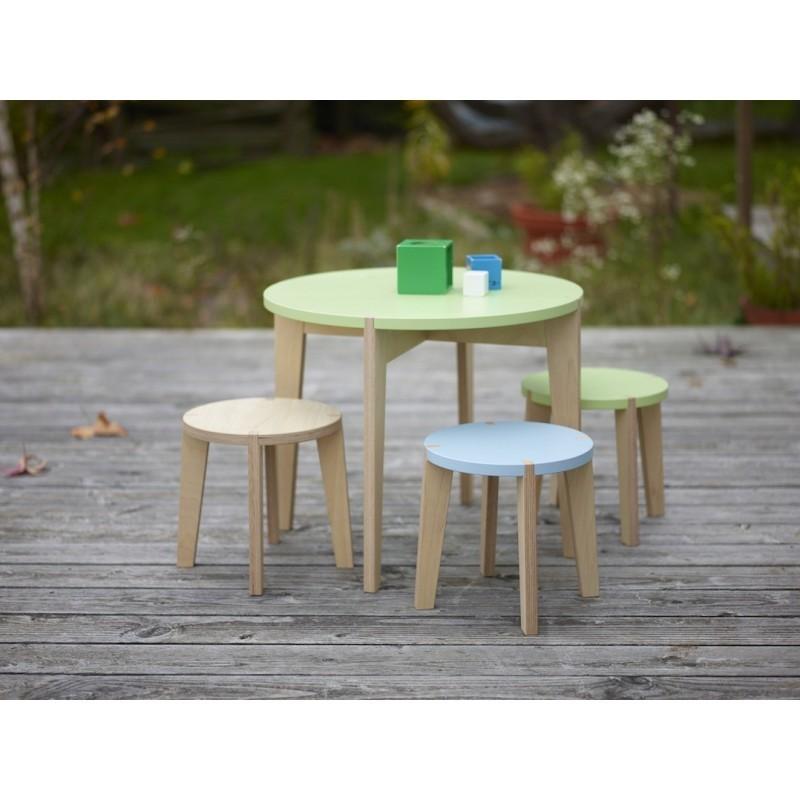 Table ronde Ø58 cm – Hauteur 48 cm + Tabourets
