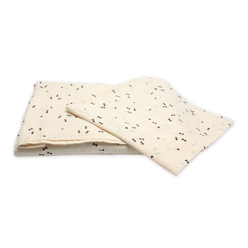 Parure de lit (Housse 200 x 140 cm + Taie) – Blanc cassé – Diabolos noirs