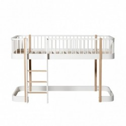 Lit mezzanine bas – Wood Collection – Blanc/chêne