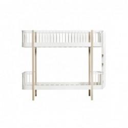 Lit superposé – Wood Collection – Blanc/chêne (échelle de côté)