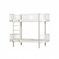 Lit superposé – Wood Collection – Blanc/chêne (échelle devant)