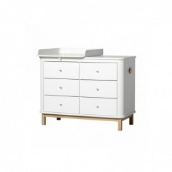 Commode – Wood Collection – Blanc/chêne (6 tiroirs)