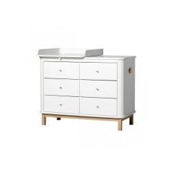 Commode – Wood Collection – Blanc/chêne (6 tiroirs)