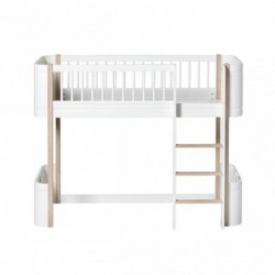 Lit mezzanine bas – Wood Mini Collection – Blanc/chêne