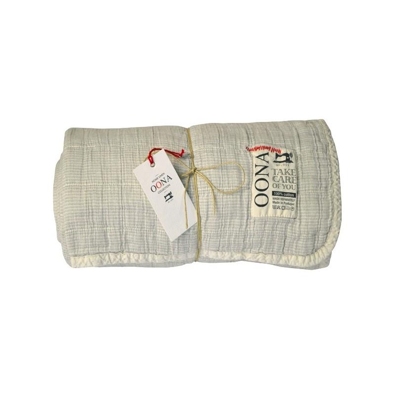 Cotton Blanket M Grey With Black Stripes