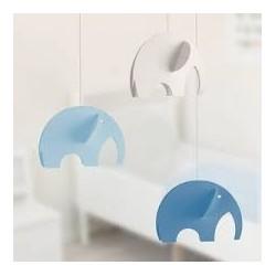 Mobile suspendu – Éléphants bleus