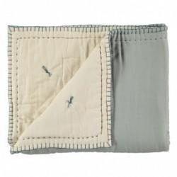 Couverture Réversible – poudre bleu/pierre – 140×200