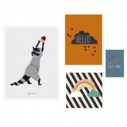 Lot de 4 affiches – Hello