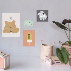 Lot de 4 affiches – Happy
