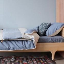 Housse de couette 100×140 – Taie d'oreiller 75×50 – Mini Carreaux Bleus et Blancs