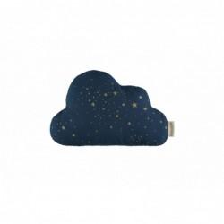 Coussin nuage – étoiles dorées – bleu nuit