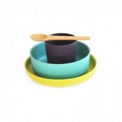 Ensemble de vaisselle – Violet/Bleu/Vert
