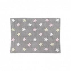 Tapis Gris – Étoiles tricolores – Blanche/Beige/Rose