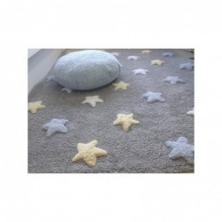 Tapis Gris – Étoiles tricolores – Blanche/Beige/Bleue